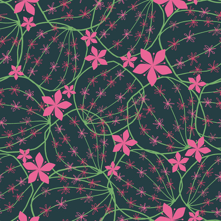 Round blooming cactus hand drawn line art doodle style seamless pattern in dark green and pink color. Vector. Great for textile, home decor, fashion and stationery.