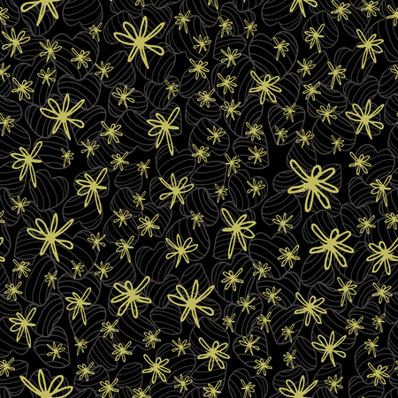 Doodle style hand drawn yellow green flowers placed on a dark background textured by striped bouncy hearts. Seamless vector pattern. Ideal for home decor, paper, stationery, fashion Illustration