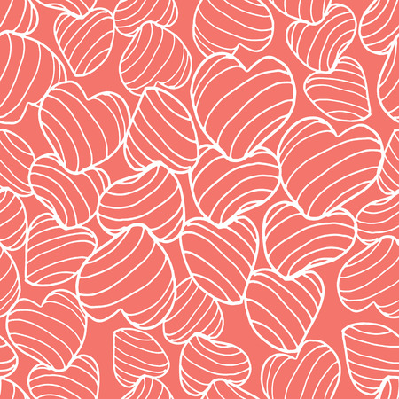 White line art bouncy striped hearts packed together on a bright coral background. Seamless vector pattern. Great for fabric, home decor, gift wrap, stationery, backdrops.