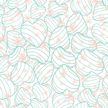 Pastel blue bouncy striped hearts packed together and covered in hand drawn scribble style pink flowers. Seamless vector pattern. Great for fabric, home decor, gift wrap, stationery, backdrops. Ilustrace