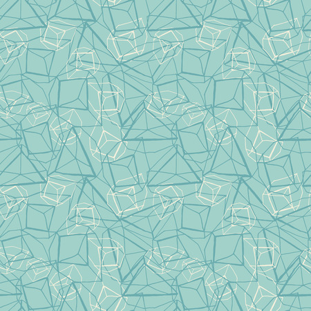 Abstract hand drawn geometric prismatic effect design in monochrome blue and white. Vector seamless pattern.