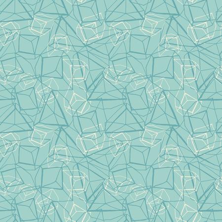 Abstraktes handgezeichnetes geometrisches prismatisches Effektdesign in monochromem Blau und Weiß. Vektor nahtlose Muster.