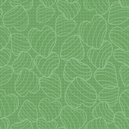 Green monochrome line art bouncy striped hearts packed together on a canvas-like textured background. Seamless vector pattern. Great for fabric, home decor, gift wrap, stationery, backdrops.