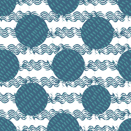 Abstract geometric background of circles filled with drop shapes surrounded by ink brush waves. Symbol for water element in an ethnic tribal hand-dyed style. Seamless vector pattern.