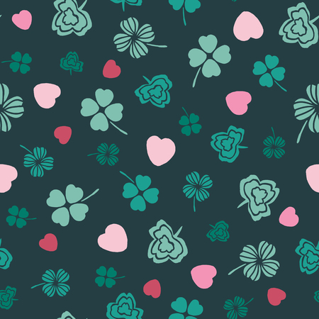 Pink and green Irish symbols design with hand drawn shamrocks and hearts. Seamless vector pattern. Ideal for St Patricks day, paper, scrap booking and as illustration element.