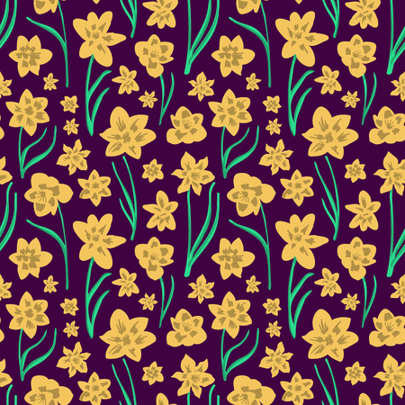 Colorful folk art yellow daffodils on dark purple background. Seamless vector pattern. Great for home decor, apparel, stationery.