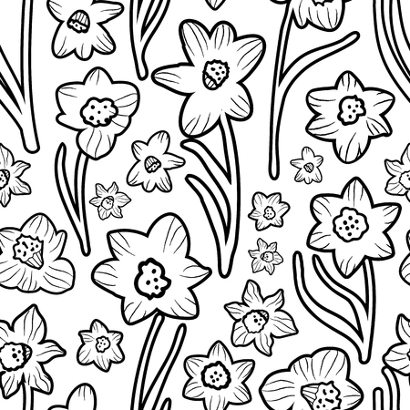 Minimalist black and white daffodils coloring book style seamless vector pattern. Great for apparel, home decor, stationery, gift wrap and more. Stock Illustratie