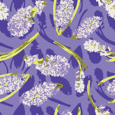 White hyacinths spring flowers with their shadow silhouettes on a purple background. Seamless vector pattern.Great for home decor, apparel, stationery, packaging.