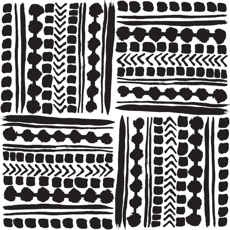 Black and white hand drawn tribal patchwork design.Seamless vector pattern. Great for home decor, stationery, apparel, backdrops.