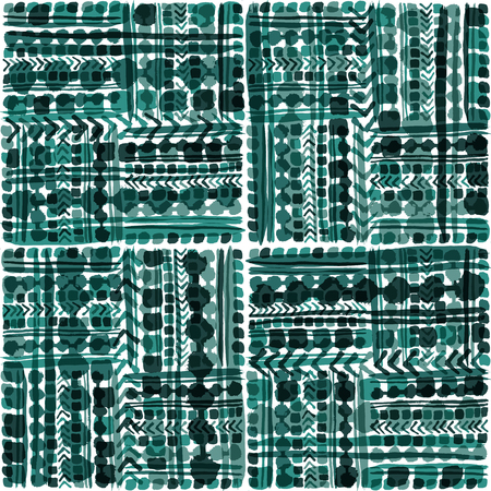 Hand drawn tribal patchwork seamless vector pattern in cool greenish blue tones with transparent overlay effects. Great for home decor, stationery, apparel, backdrops.