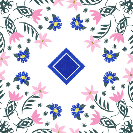 Hand painted ornamental floral tile in a fully editable vector format.