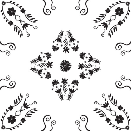 Monochrome black hand painted ornamental floral tile in a fully editable vector format. Great for stationery, home decor, apparel.