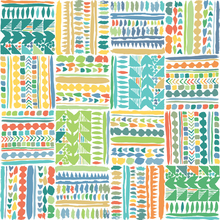 Hand drawn multicolored tribal patchwork seamless vector pattern. Great for home decor, stationery, apparel, backdrops.
