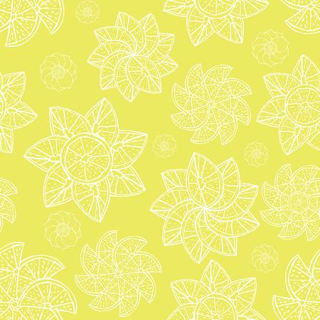 Yellow citrus fruit ornamental mandala seamless vector pattern.