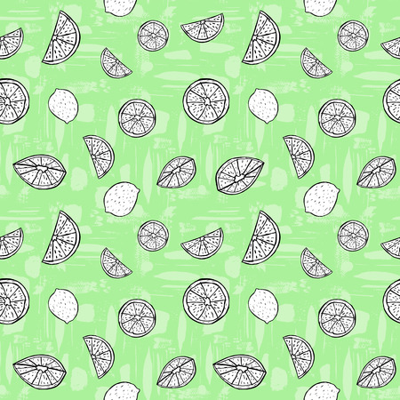 Black and white hand drawn citrus fruit on green textured background. Seamless vector pattern.