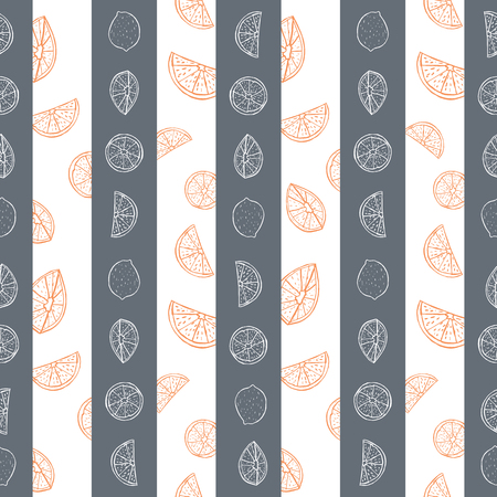 Orange and grey hand drawn citrus fruit and stripes seamless vector pattern. Great for home decor, fabric, stationery, paper goods.