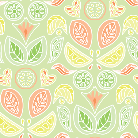 Colorful pastel citrus fruit and leaves damask design in a folk art style. Seamless vector pattern. Great for home decor, fabric, stationery, paper goods.