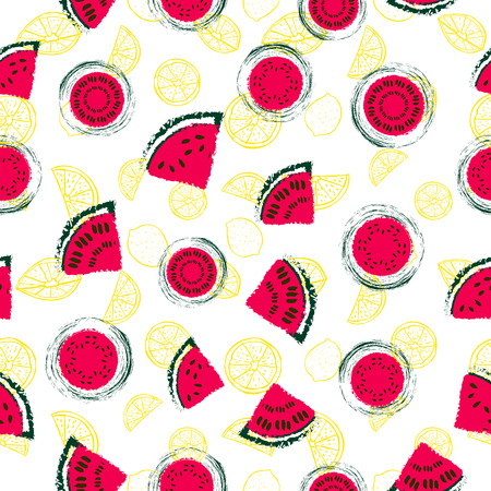 Hand drawn red watermelon slices and yellow lemons seamless pattern vector background in a colorful retro style. Great for fabric, paper, wallpaper and more. Vektorové ilustrace