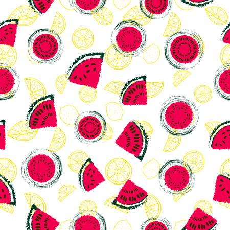 Ręcznie rysowane plasterki czerwonego arbuza i żółte cytryny bezszwowe tło wektor wzór w kolorowym stylu retro. Świetnie nadaje się do tkanin, papieru, tapet i nie tylko. Ilustracje wektorowe