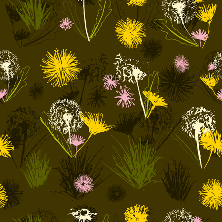 Vector floral dandelions blowballs and daisy bouquets seamless pattern background. Easter and spring design in a creative retro grunge style.