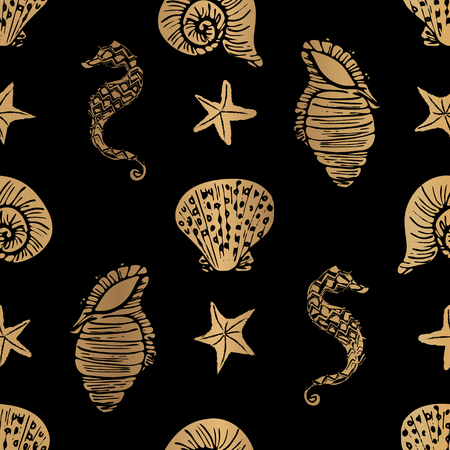 Elegant gold and black vector seahorse, starfish and seashell seamless pattern background.
