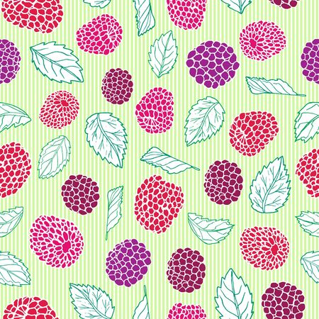 Berries and pinstripes seamless pattern background design. Summer fruit berry print.
