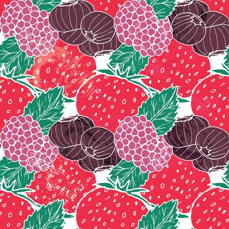 Colorful berries and leaves seamless pattern print background design - Vector