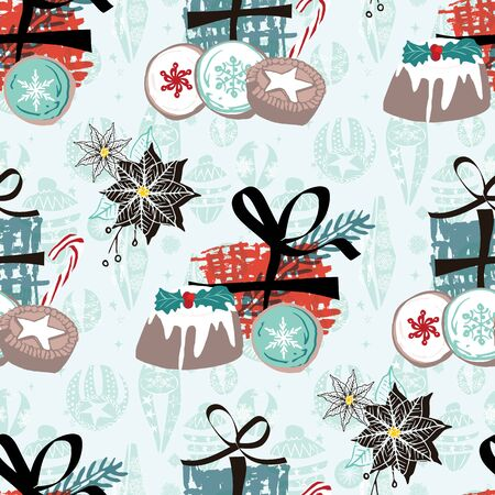 Christmas pattern with food, gifts and vintage ornaments. For wrapping paper, cards, invitations, fabric. Seamless vector background.