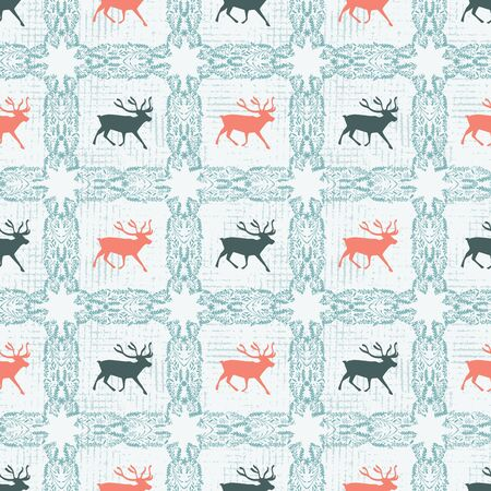 Reindeer silhouette quilt pattern with ornate checked floral square. Nordic Scandinavian folk art.  イラスト・ベクター素材