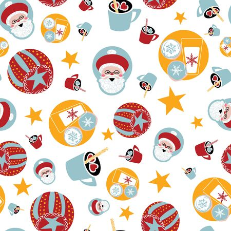 Santa Claus seamless pattern with cookies and milk, ornaments and stars. Retro kids noel vector print.