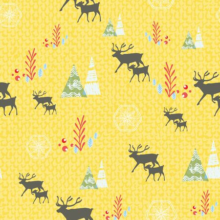 Christmas reindeer seamless pattern with holly berries, fir trees and plants. Scandinavian Nordic style. Vector