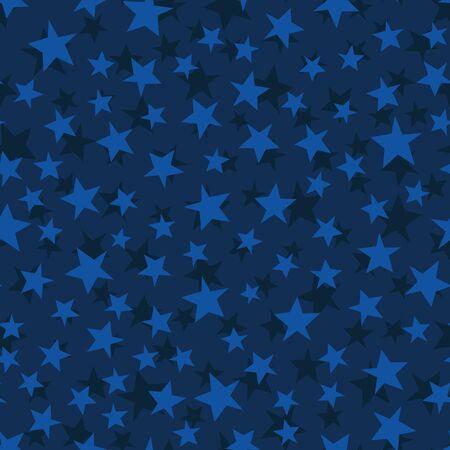 Vector stars seamless pattern. Blue starry night sky background.