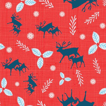 Christmas reindeer seamless pattern with holly berries and snowflakes. Scandinavian Nordic style. Vector