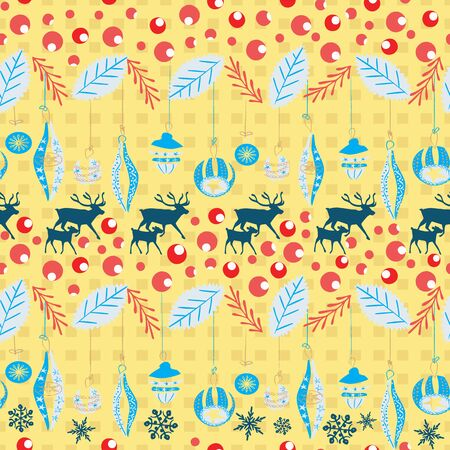 Reindeer and calf Christmas pattern with retro Christmas ornaments, holly berries and leaves. Scandinavian style seamless vector. For fabric, wrapping paper, packaging and holiday season projects.