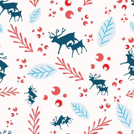 Reindeer and calf Christmas pattern with holly berries, leaves and branches. Scandinavian style seamless vector design. For fabric, wrapping paper, packaging and holiday season projects.