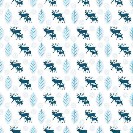 Reindeer and calf Christmas pattern with snowflakes and holly leaves. Scandinavian style seamless vector design. For fabric, wrapping paper, packaging and holiday season projects.
