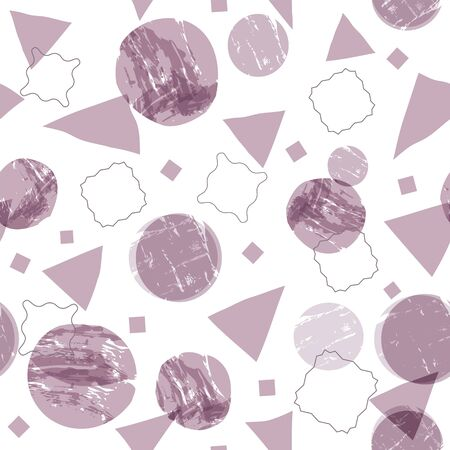 Abstract geometric shapes seamless background with grunge texture. Circles, squares and triangles with painterly effect. EPS10 Vector
