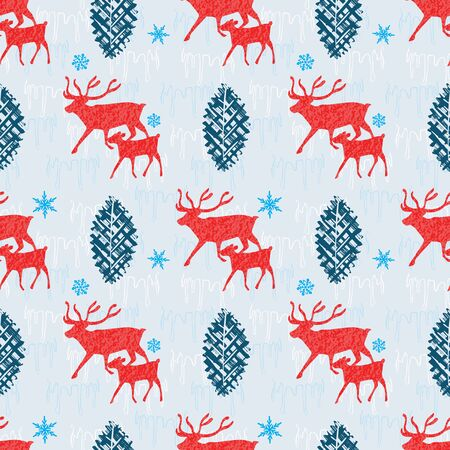 Reindeer and calf Christmas seamless pattern with snowflakes, fir trees and ice. Scandinavian style seamless vector design. For fabric, wrapping paper, packaging and holiday season projects.
