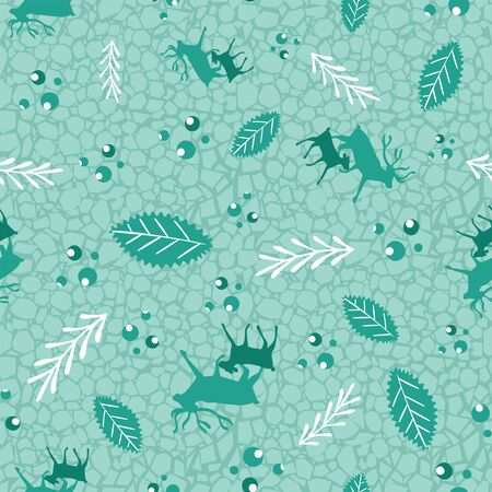 Reindeer and calf Christmas pattern with holly berries, leaves and branches. Scandinavian style seamless vector print. For fabric, wrapping paper, packaging and holiday season projects. Фото со стока - 129197759