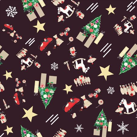 Traditional retro toys seamless pattern with christmas trees and gift boxes. EPS10 vector. Foto de archivo - 129197755