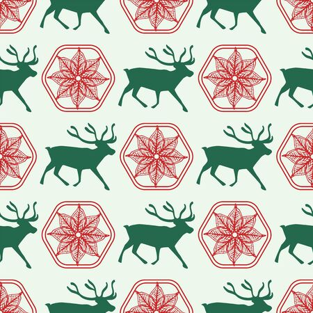 Reindeer silhouette pattern with floral ornament. Folk art. For wrapping paper, fabric, scrapbook and more.Vector