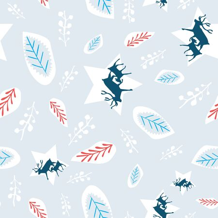 Reindeer and calf silhouette pattern with leaves and branches. Winter Scandinavian print background. Vector Illustration
