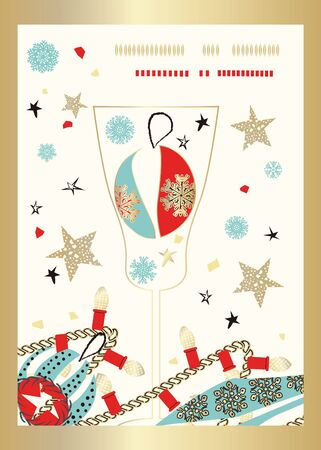 Champagne glass, confetti and Christmas tree decorations. Festive creative illustration perfect for greeting card or invitation, Christmas and New Year. Vector