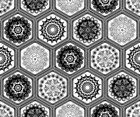 Black and white decorated hexagon doily crochet patchwork seamless pattern background design. Embroidery style vector illustration.