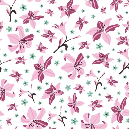 Amaryllis floral pattern seamless vector background print.