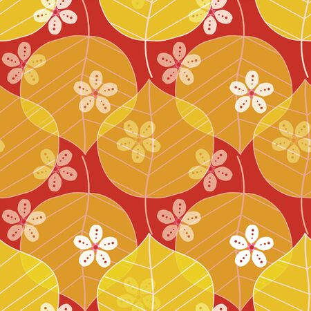 Cherry blossoms and camellia leaves pattern. Modern Japanese floral print in a colorful graphic style. Seamless vector background design.