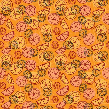 Citrus fruit lemon and orange slices seamless pattern background design print in a colorful hand drawn style. Vector