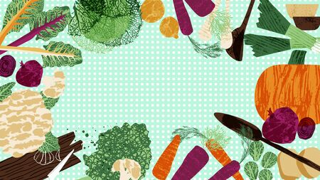 Winter veggies web background on checked backdrop. Textured vegetables vector illustration.
