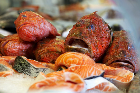and the stakes: Fresh red scorpionfish and salmon stakes at fishmongers Stock Photo