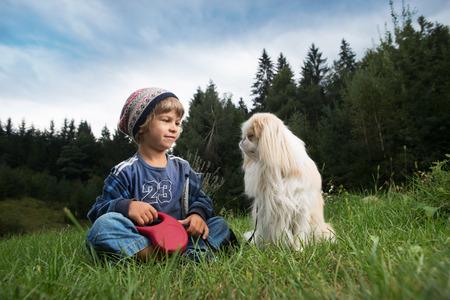 amigos abrazandose: Niño pequeño lindo y su perro sentado en el prado mirando el uno al otro. El mejor concepto amigos.